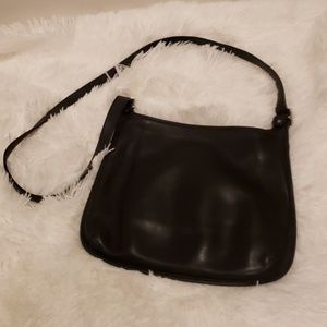 Vintage Coach Black Leather Messenger Bag